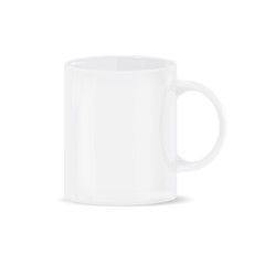 Most realistic white cup. Object isolated on the white background.
