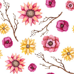 Seamless Pattern of Watercolor Branches and Flowers