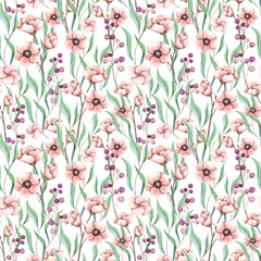 Seamless Pattern of Watercolor Light Red Flowers and Little Berries