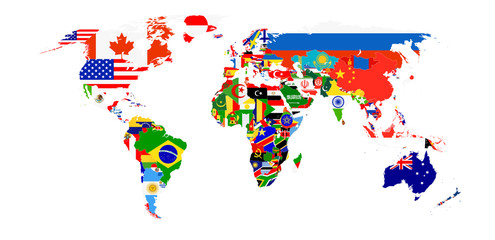 Wall Mural - World Flag Map isolated on white