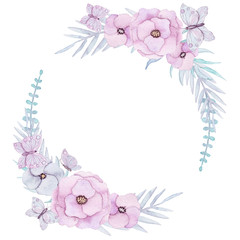 Wreath with Watercolor Pink Flowers and Butterflies