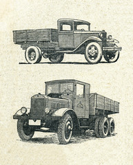 Cars, vintage engraved illustration
