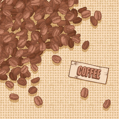 label coffee with coffee beans