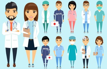 Set doctors in full growth. Various specialization. The head physician, surgeon, nurse, optometrist. Happy people