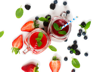 Two colorful smoothies, top view.