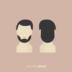 Men's head front and rear. Vector element for the character.