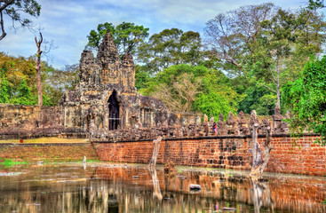 Bridge and South Gate of Angkor Thom, Cambodia
