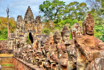 Guardians at the South Gate of Angkor Thom - Siem Reap, Cambodia