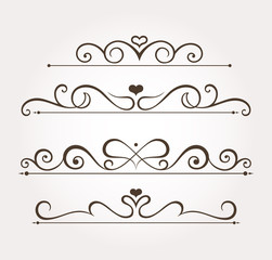 Set of four calligraphic valentine's day design elements and page decoration. Vector illustration