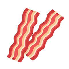 Bacon on white background.