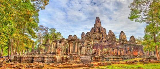 Wall Mural - The Bayon, a Khmer temple at Angkor in Cambodia, Southeast Asia