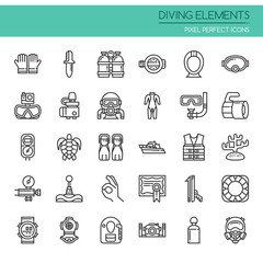 Diving Elements , Thin Line and Pixel Perfect Icons
