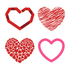 Differents style red heart vector icon isolated love valentine day symbol and romantic design wedding beautiful celebrate bright emotion passion sign illustration.