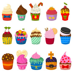 Set of cute vector cupcakes and muffins isolated on white
