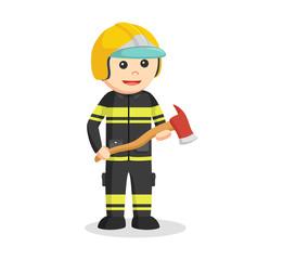fireman holding axe illustration design