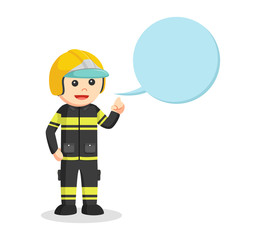fireman with callout illustration design