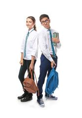 Classmates on white background