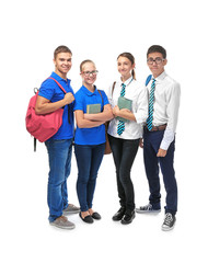 Group of classmates on white background