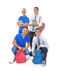 Group of classmates on white background