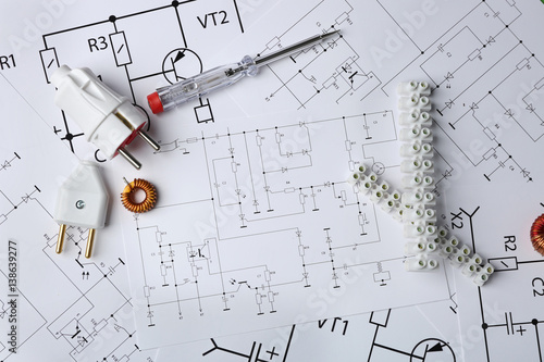 Different electrical tools on paper circuit drawing background ...
