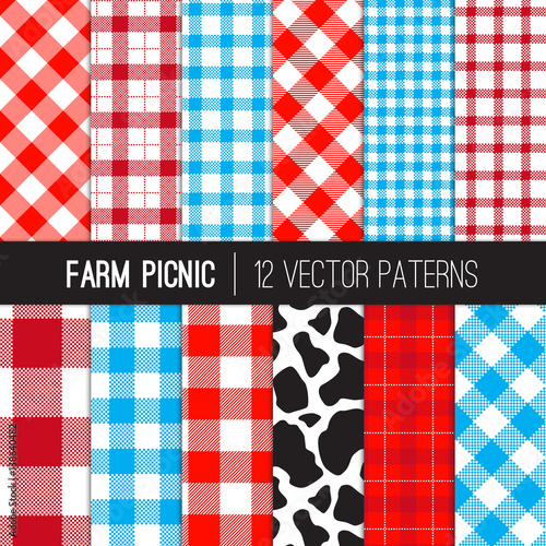Farm Picnic Tablecloth Gingham And Cow Print Patterns. Red, Blue And White  Plaid Fabric