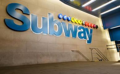 A subway entrance in midtown Manhattan.