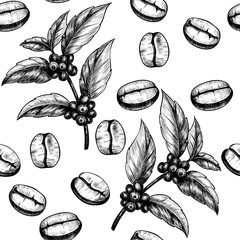 Coffee. Vector seamless pattern. Vintage style