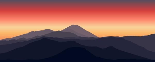 Mountain Landscape, Dark Sunset Landscape Mountain Hill Vector Illustration