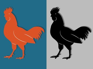 silhouette of rooster, vector draw