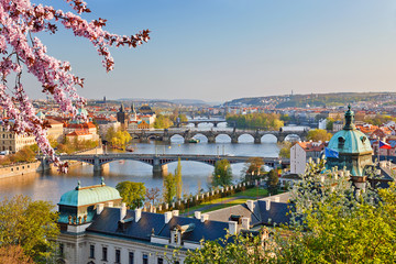 Poster Prague View on Vltava river and Prague at sunset
