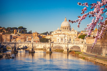 Fotomurales - View at Tiber and St. Peter's cathedral in Rome