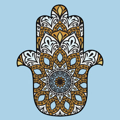 Drawing of a hamsa in blue, turquoise and brown colors, with floral ethnic round ornament on a blue background