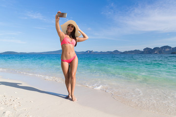Young Woman On Beach Taking Selfie Photo On Cell Smart Phone Summer Vacation, Beautiful Girl Seaside Sea Ocean Holiday Travel
