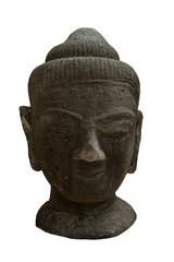 old buddha head statue on white background