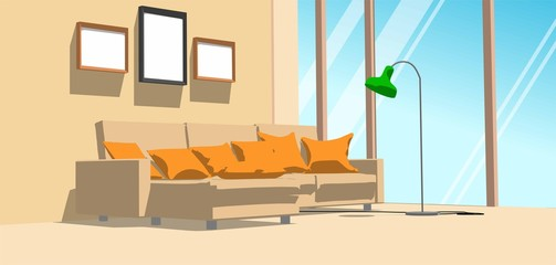 Home interior with big window and sofa with orange pillows