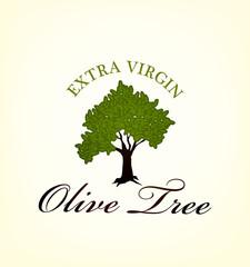 olive oil tree label, vector illustration
