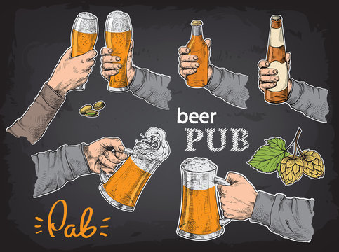 Hands holding and clinking with beer glasses mug in graphic style vector illustration