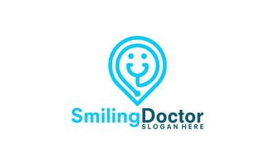 healthcare center logo, smiling stethoscope pin logo vector illustration