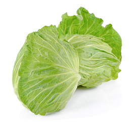 Two cabbage on a white background