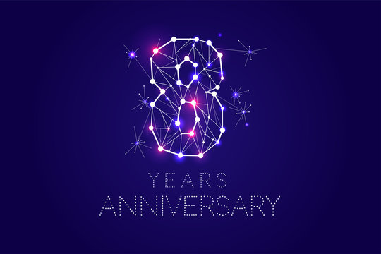 8 years Anniversary design. Abstract form with connected lines and light dots. Vector Illustration