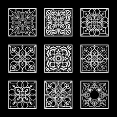 Vintage abstract black and white squares set.