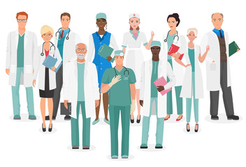 Hospital medical staff Team doctors together collection. Group of doctors and nurses people character set.