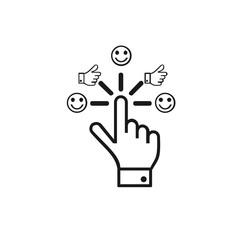Touch icon stock vector design, touch with social media reaction