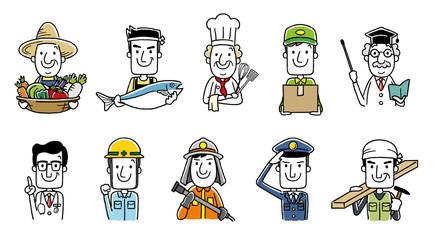 働く人々、職業:セット、バリエーション