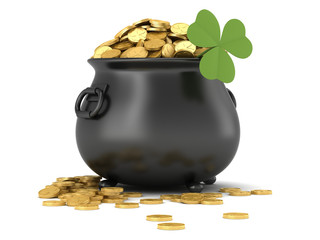 3d render of black pot full of gold coins with shamrock