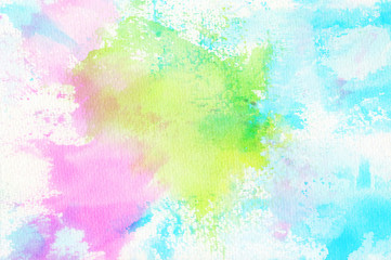 Abstract colorful hand draw watercolor background.