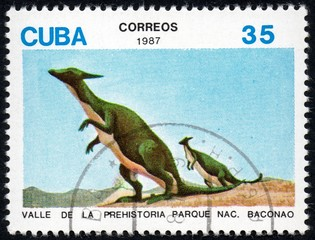 UKRAINE - CIRCA 2017: A stamp printed in Cuba, shows a extinct animals from the park of dinosaurs in the reserve Baconao, the series Valle de la prehistoria parque nac. Baconao, circa 1987