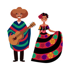 Mexican man and woman in traditional national clothes for celebrations and carnivals, cartoon vector illustration isolated on white background. Mexican people, man and woman, in national costumes