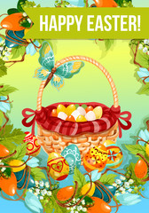 Easter egg hunt cartoon poster. Painted Easter eggs in wicker basket, decorated by red ribbon, flowers of lily and tulip, grapevine leaves and butterfly. Happy Easter floral greeting card design