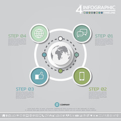 Vector geometric Infographics design template in 4 steps, options or processes for cycle diagram, graph, presentation and chart with icon set.